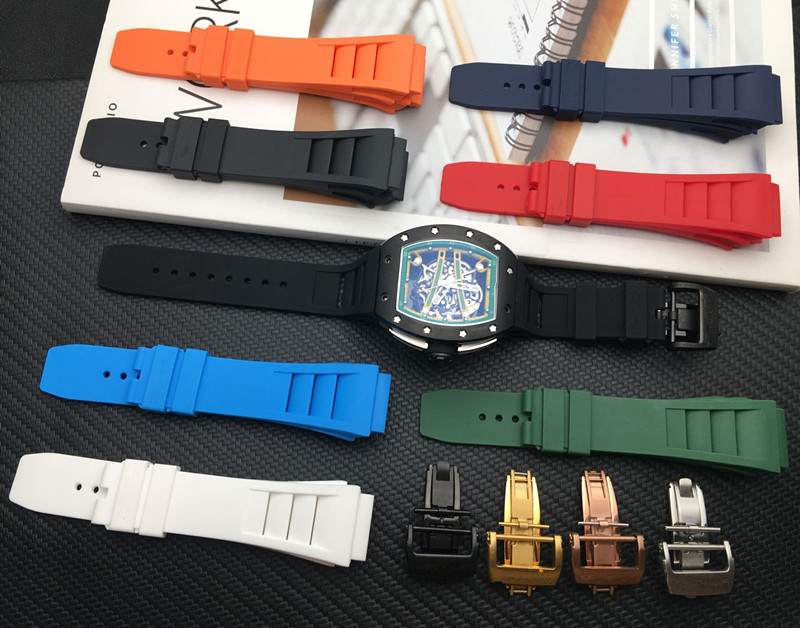 Brand 25mm Imported Soft Nature Soft Silicone Rubber Watchband For Richard Watch Mille Strap Band Butterfly Buckle Spring Bar