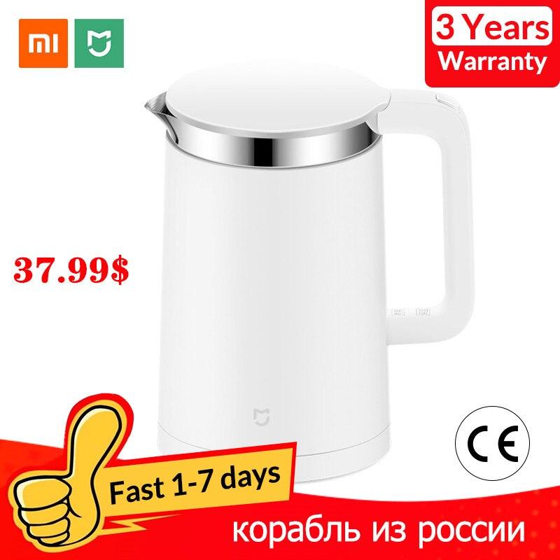 Xiaomi mijia chaleira elétrica inteligente controle de temperatura constante chaleira água da cozinha samovar 1.5l isolamento térmico bule app