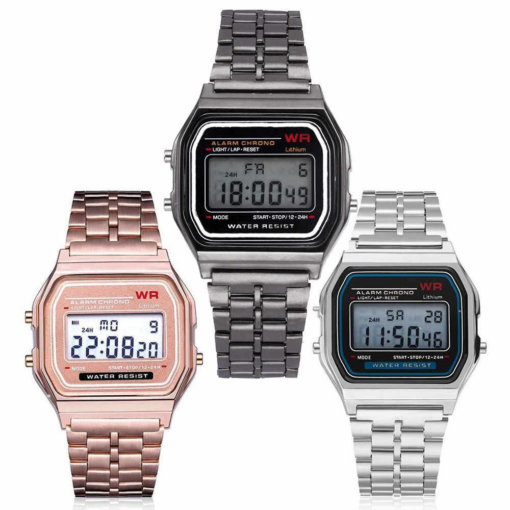 Digital LED Tahan Air Jam Tangan QUARTZ Gaun Emas Jam Tangan Wanita Pria Mens Watches Top Brand Mewah Masculino Reloj