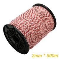 Rollo de cuerda de valla eléctrica de 500M, polialambre rojo y blanco con cuerda de polietileno de acero para cerca para animales de caballos, cable de resistencia Ultra baja