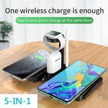 4 в 1 Быстрое беспроводное зарядное устройство док-станция Быстрая зарядка для Apple Watch Series 5 4 3 2 1 Iphone 11 Pro Max XS MAX XR IWatch зарядное устройство