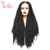 Braided Lace Front Wigs Dreadlock Wig Faux Locs Crochet Hair Braid 28 Inch Black Braids Synthetic Lace Wig For Afro Women Soku