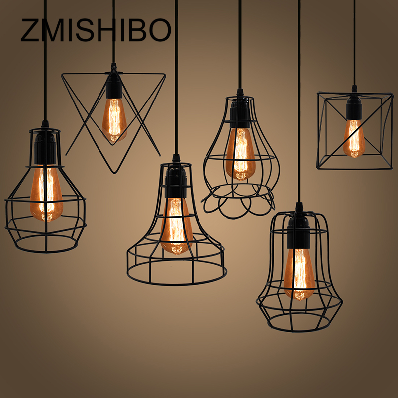 ZMISHIBO Irregular Iron Cage Design Pendant Lights Adjustable Length Hanging Lamp E27 Droplights Home Suspension Luminaire