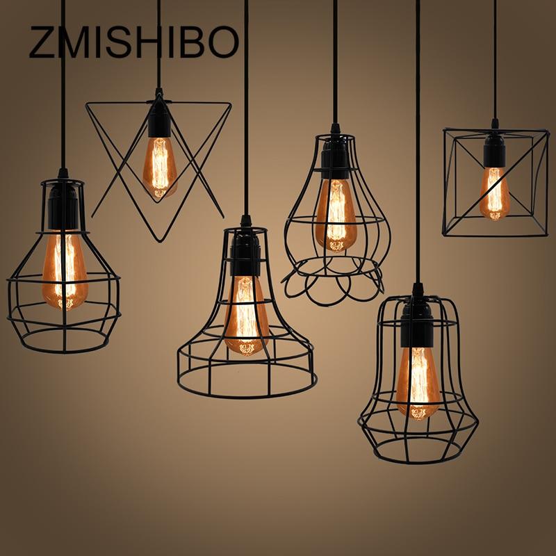 Zmishibo 불규칙한 철 케이지 디자인 펜던트 조명 조절 길이 교수형 램프 e27 droplights 홈 서스펜션 조명기구