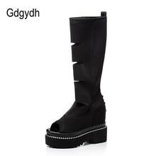 Gdgydh – bottes en tissu extensible à bout ouvert pour femme, chaussures à talons hauts, plateforme ajourée, Sexy, nouvelle collection printemps été 2021