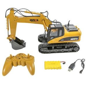 Yfashion HuiNa Toys 1550 15Channel 2.4G 1/14 RC Car 680 Degree Rotation Metal Excavator Cool Sound/Light Effect Truck