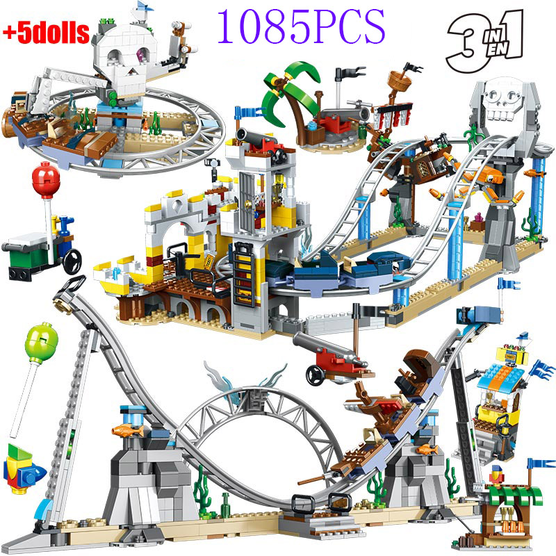1085pcs For Creator City Blocks Pirate Roller Coaster Pirates Figures Building Blocks Education Imagination Toys for Children(China)