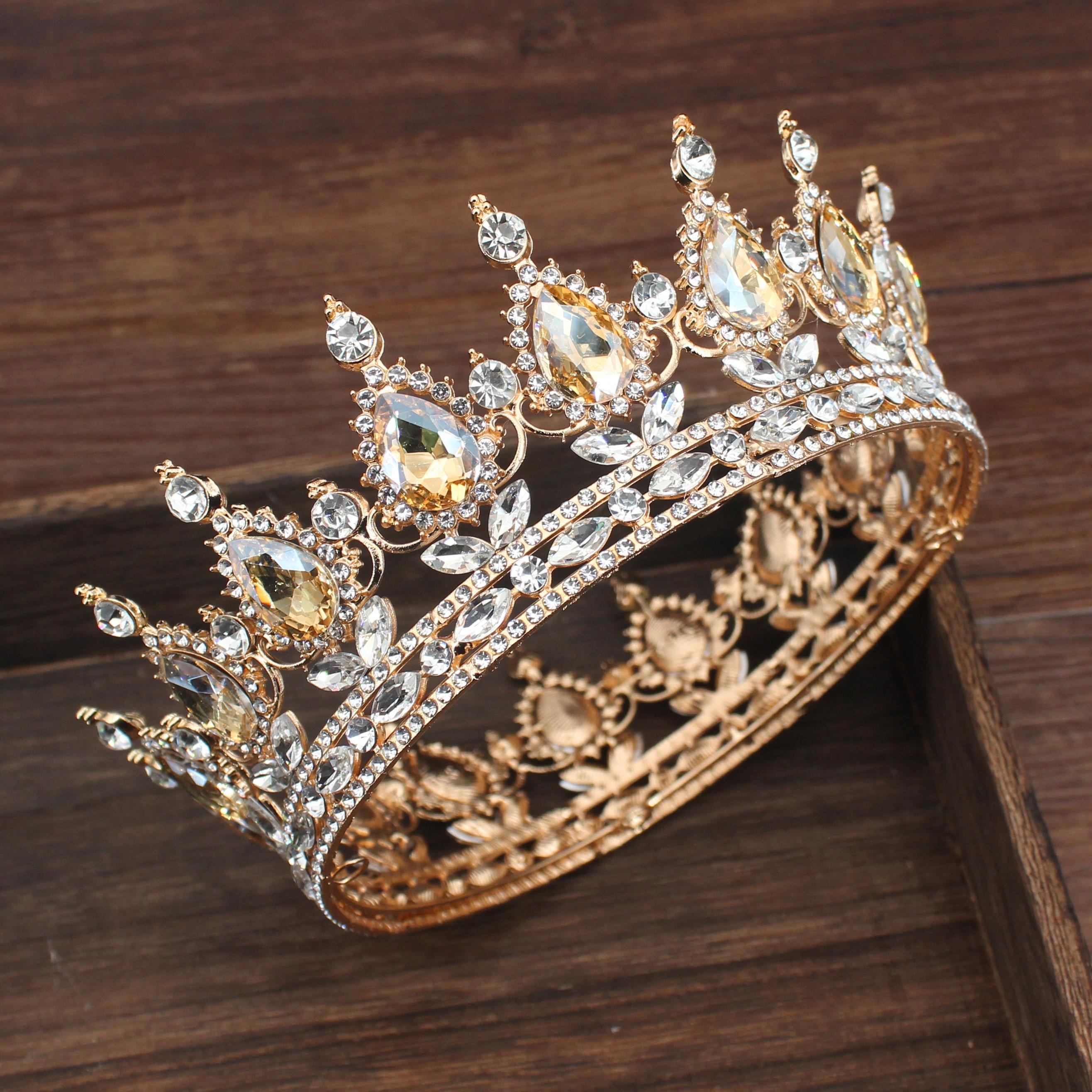 Enfeite de cabeça para noiva, acessório de enfeite de noiva tipo queen king tiaras e coroa para casamento, diadema para mulheres
