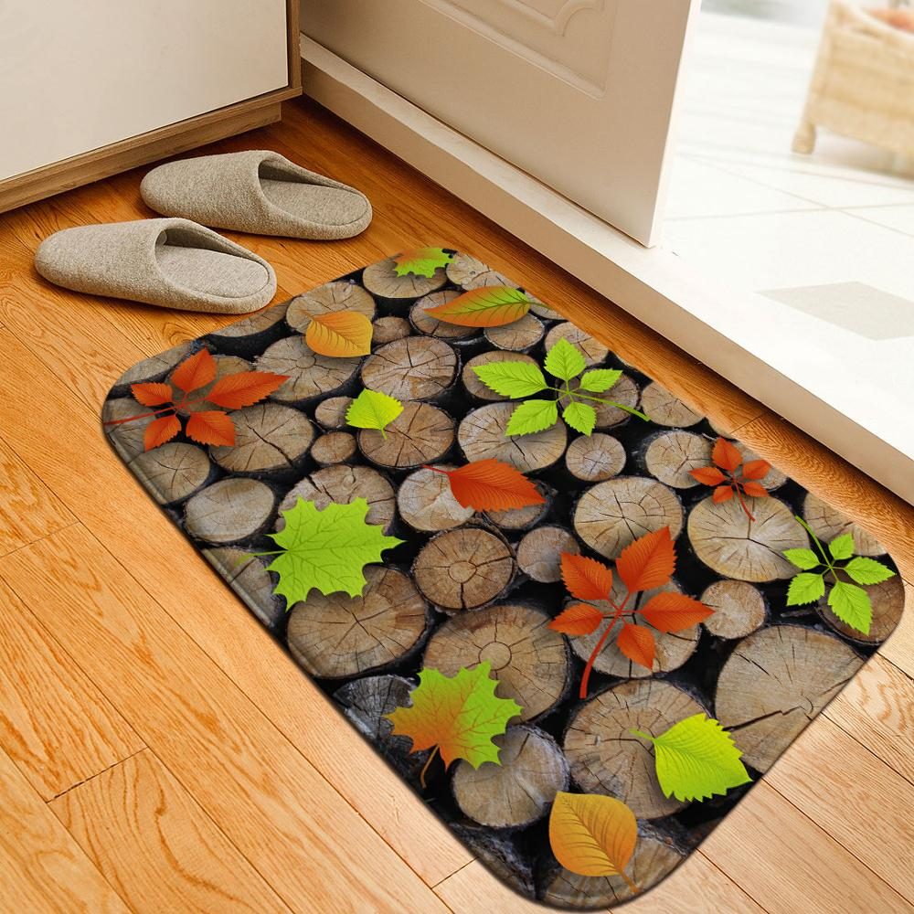 3D Wood Grain Annual Rings Carpet Bathroom Rug Bath Mat Soft Crystal Fleece Anti-skid Kitchen Balcony Floor Mat Indoor Doormat image