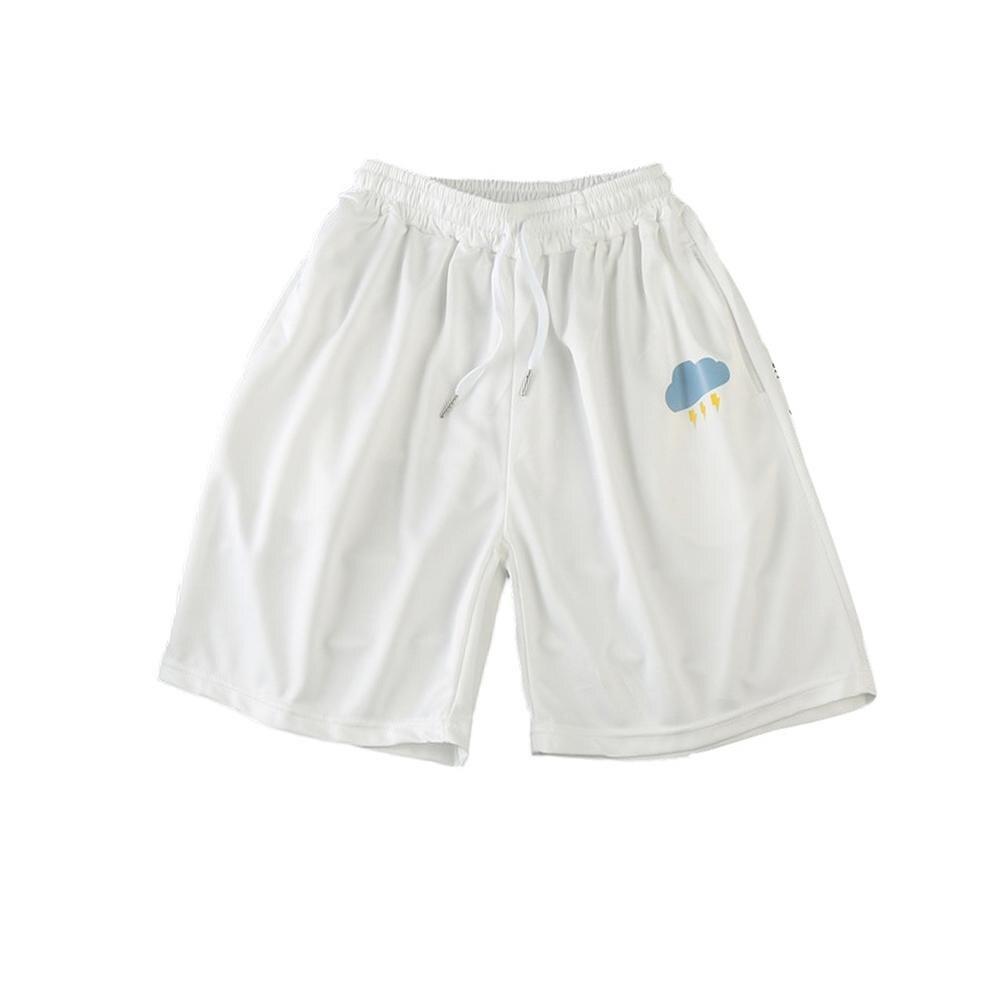 Men Sun Moon Quick Drying Drawstring Elastic Fifth Pants Board Sports Shorts 2