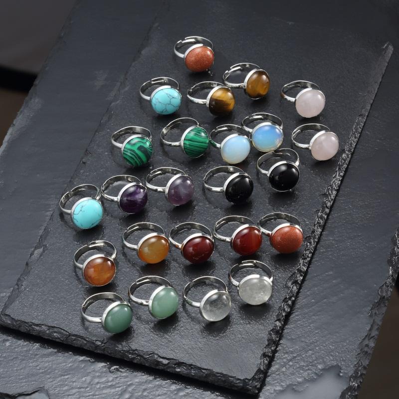 12 мм круглое кольцо из натурального камня с тигром, опалом, розовым кристаллом, регулируемое кольцо для женщин, ювелирные изделия