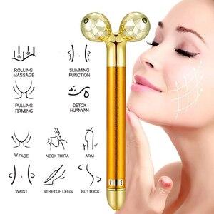 Image 4 - Kilo kaybı yüz yüz masajı altın titreşimli yüz güzellik rulosu masaj sopa cilt sıkılaştırıcı tıbbi yüz cilt bakımı araçları