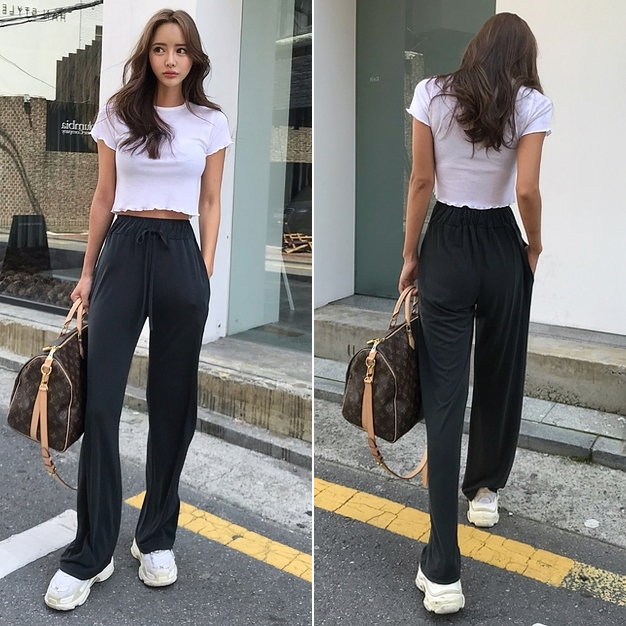 NEW Straight Large Size Casual Solid Wide Leg Trousers Streetwear Suit Full-Length Loose Pants Long women pants lace up pants