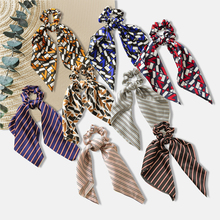 New Women Large Tassel Retro Square Scarf Knotted Ponytail Ring Hair Ring Holiday Elegant Soft Elastic Hair Bands Scrunchies coffee square hair ring