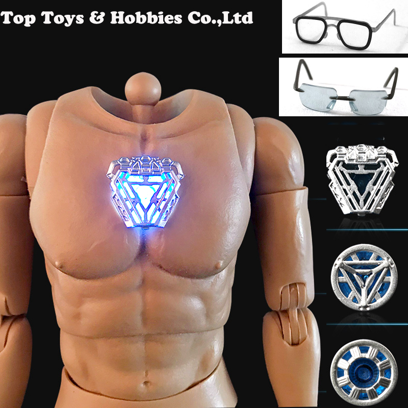 1/6 Scale Iron Man Tony Nano Reactor Glasses For Tony Stark DIY ST020 /AT027/AT020 Durable Muscular Body Figure
