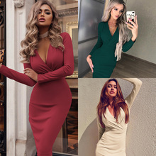 Women Autumn Dress Sexy Long Sleeve V neck Bandage Bodycon Evening Party Office Lady Black High Waist Solid Pencil Dresses new summer women dress red black v neck spaghetti strap one shoulder dresses office lady sexy party bandage bodycon pencil dress