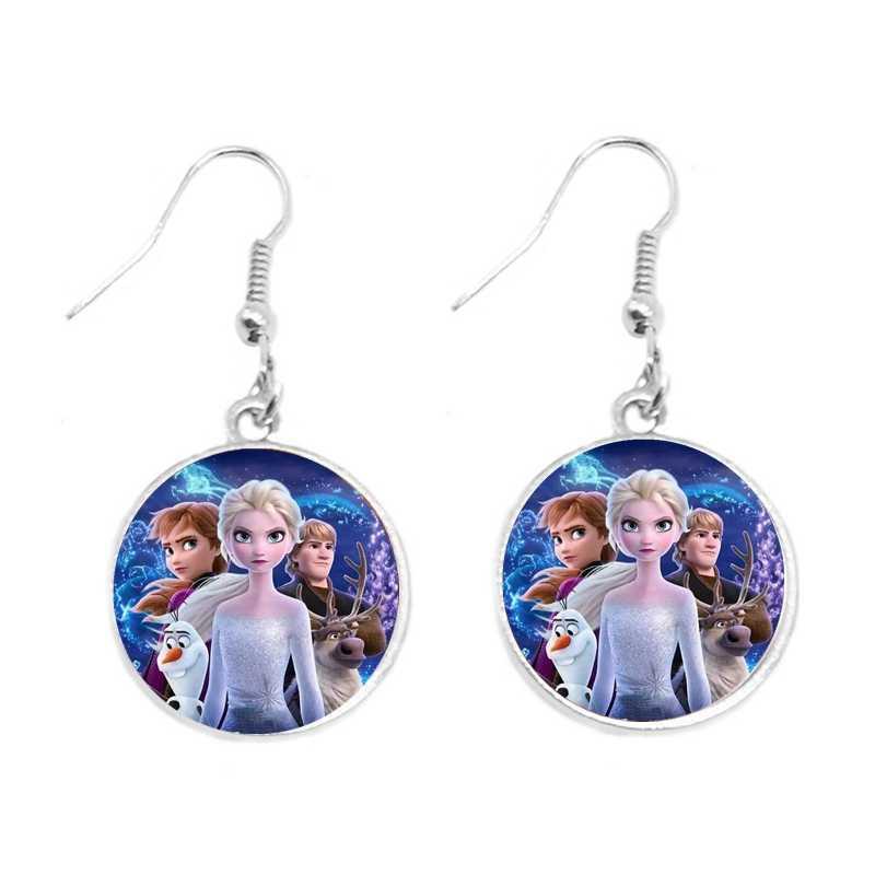 2020 nowe złote i srebrne kolczyki wisiorki kolczyki dla dzieci biżuteria okrągłe księżniczka elza Anna Snow Queen kolczyki biżuteria prezent