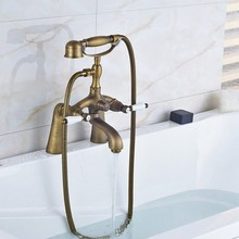 цена на Retro Antique Brass Double Ceramic Handles Deck Mounted Bathroom Clawfoot Bathtub Tub Faucet Mixer Tap w/Hand Shower aan019