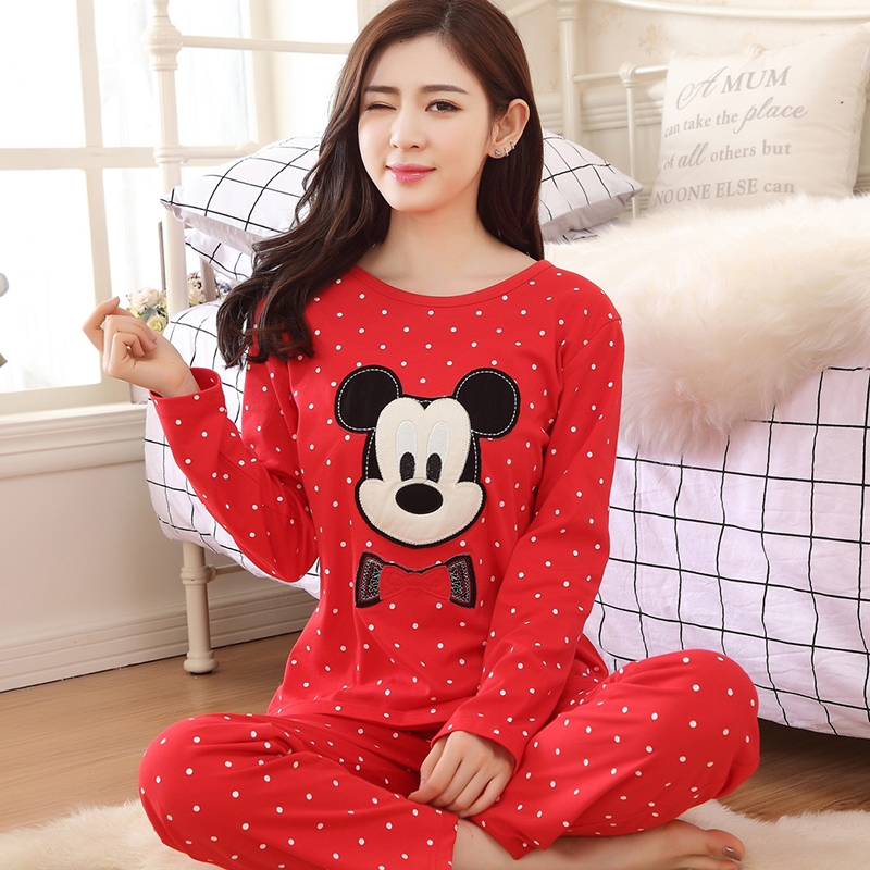 2019 Sweet Cotton Womens Pajamas Animal Printing Long Sleeve Clothing Home Suit Sleepwear Autumn Christmas Pajamas Woman Pyjamas