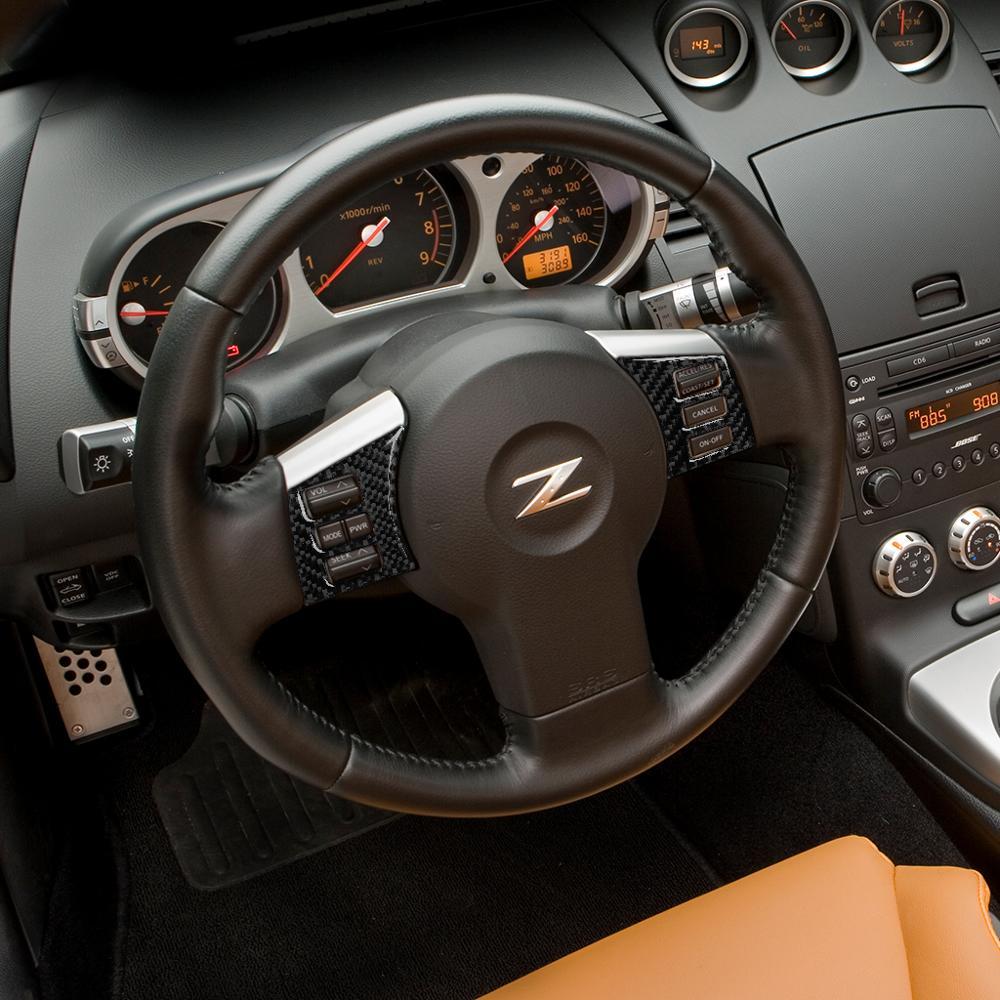 Autocollant décoratif de modification de cadre de bouton de volant de voiture de fiber de carbone pour Nissan 350Z Z33 2006-2009