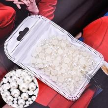 2/3/4/5/6/7mmAcrylic Flatback Pearl Beads 1200-2000 pcs  pack Ivory/ White /Beige Half Round DIY Resin Nail Art
