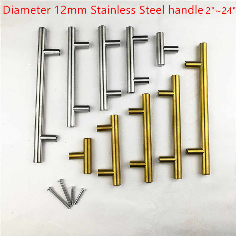 "Diameter 12mm Stainless Steel brushed gold handle Kitchen Door Cabinet T Bar Handle Pull Knob 2"" ~ 24''"