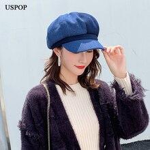 USPOP, зимние шерстяные шапки, Женские клетчатые Восьмиугольные шляпы, Британский ретро газетный киоск, женские цветные Шапки, береты
