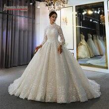 אלגנטי מלא תחרה גבוהה מחשוף מוסלמי חתונת שמלת 2020 יוקרה כלה שמלת העבודה האמיתית