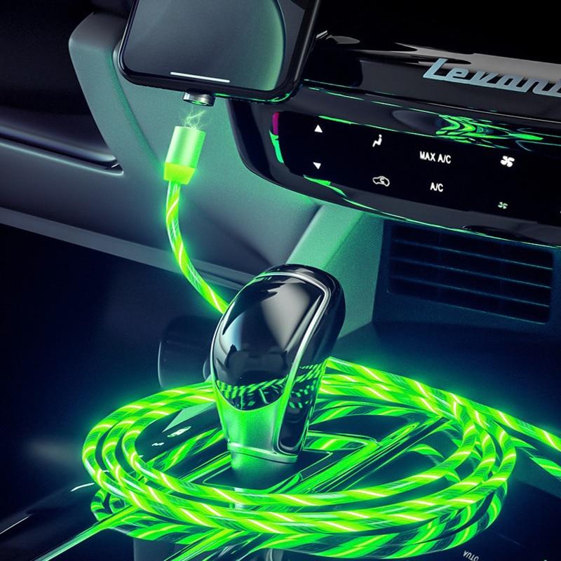 Car Charging Cable LED Luminous Magnetic USB Cable For Kia Rio Toyota Tacoma Beetle Ix25 Dodge Challenger Opel Insignia Mk7