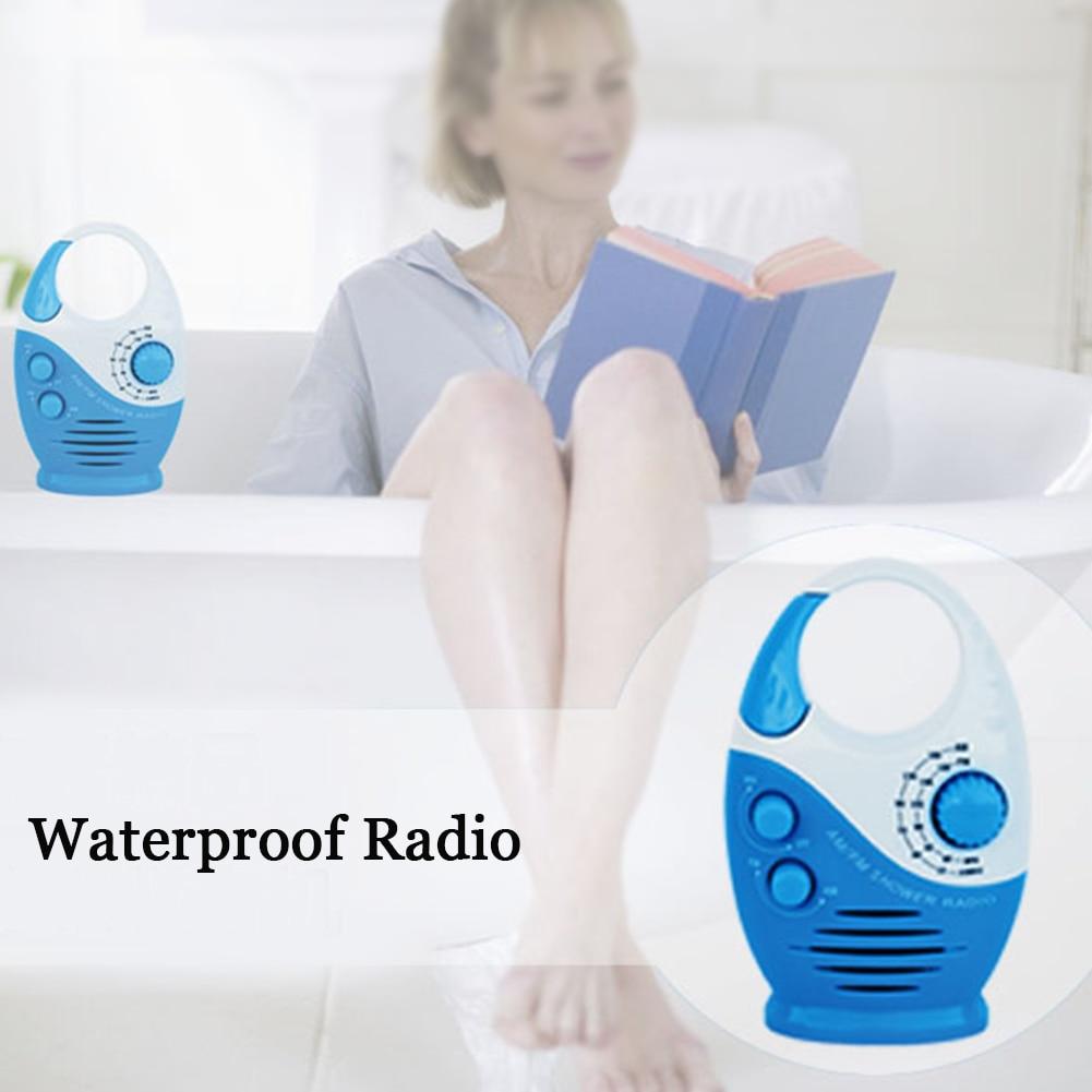 Shower Radio Top Handle Insert Card Music Hanging Mini Battery Powered AM FM Portable Waterproof Speaker Bathroom Button Adjustable Volume