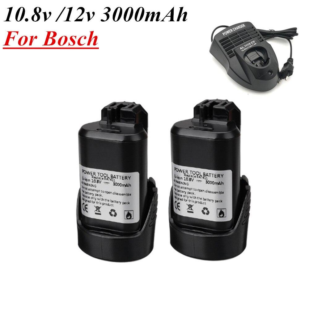 Аккумулятор для электроинструментов BAT411, литий-ионный аккумулятор 10,8 В, 12 В, 3000 мАч для Bosch 2, 607, 336, 013, 2, 607, 014, 2, 336, 607, 336, 333, 12 В, Ач
