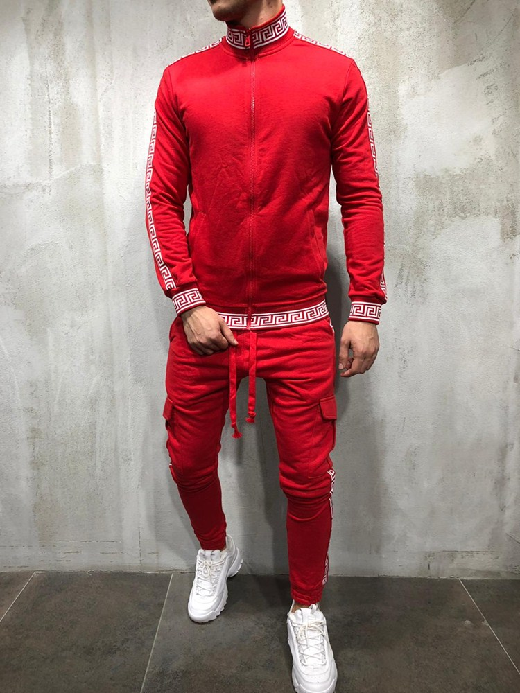 Fashion Men Set Zipper+Pants Sets Male Tracksuit Men's Casual Slim Fit Sportswear Male Jogger Movement Pockete Install