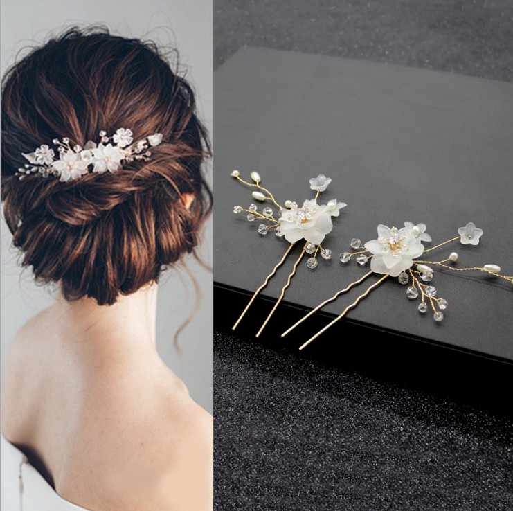 6pcs Austria Crystal Beautiful Flower Hair Pin Jeweled Bobby Pins Tiara Bun Pins