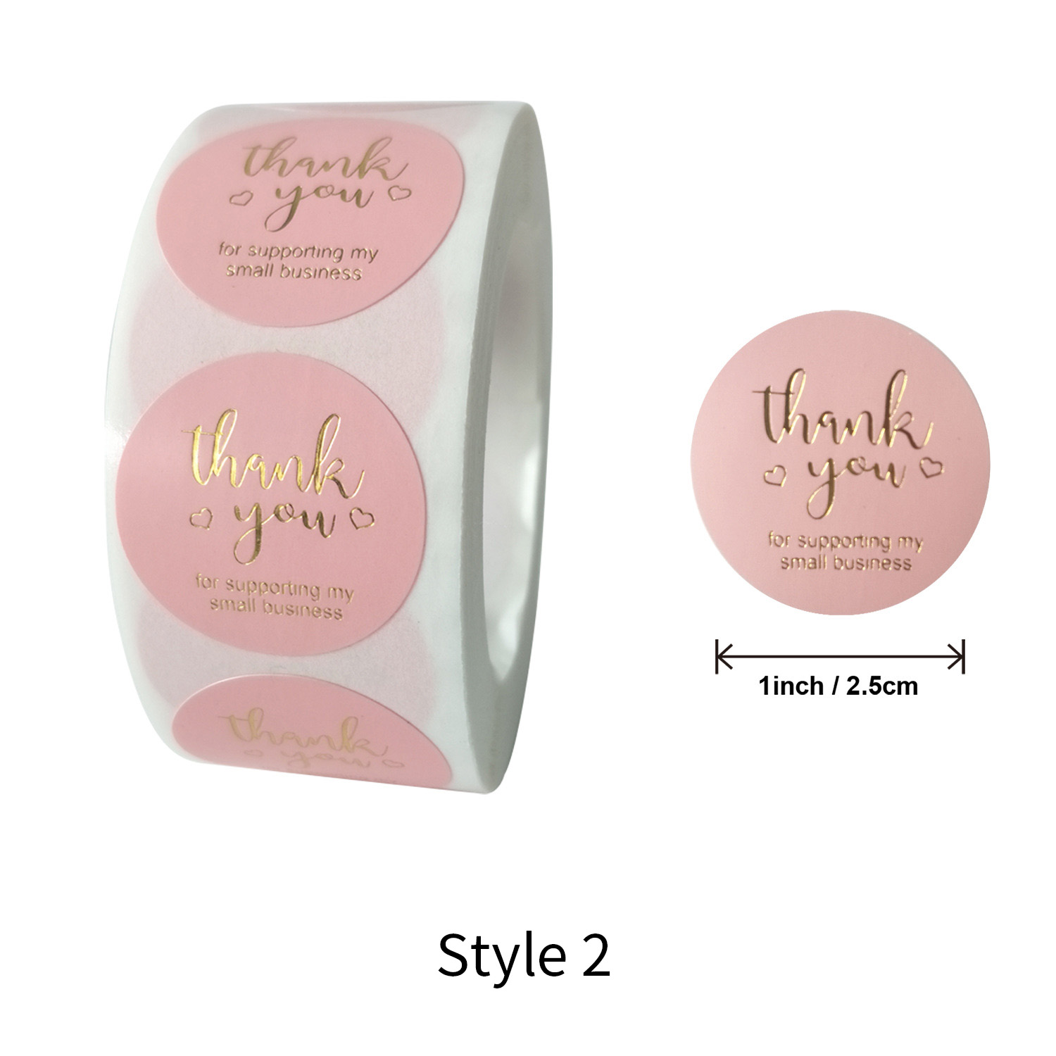 500Pcs Thank You For Supporting Handmade Food Craft Label Stickers Box 25mm DIY