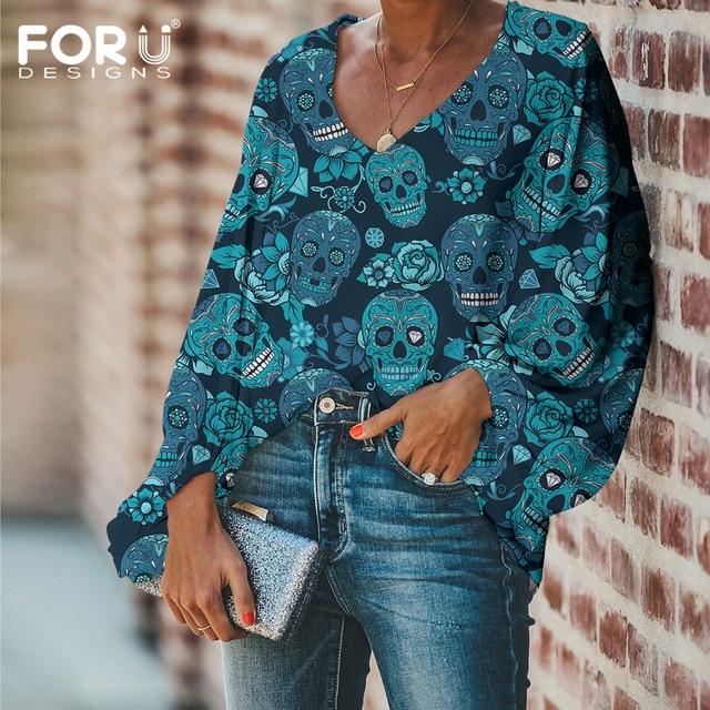 FORUDESIGNS Fashion Vintage Sugar Skull Pattern Large Size Women Blouse 2020 Casual Loose Long Sleeve Tops V-neck Shirts 1