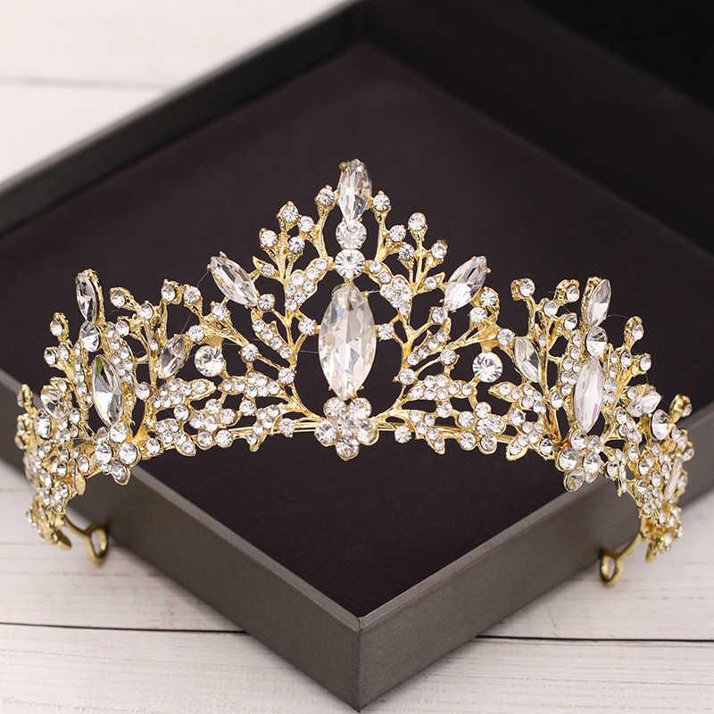 Diadèmes et couronnes en cristal Baroque accessoires de cheveux de mariage couronne de mariée diadème or strass diadème de mariage bijoux de cheveux de mariée