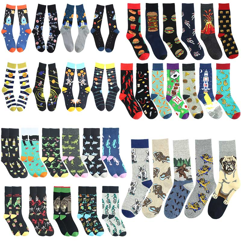 Happy Men Cotton Socks Animal Burger Volcano Ocean Pattern Men's Socks Creative Hip Hop Socks Colorful Funny Unisex Socks