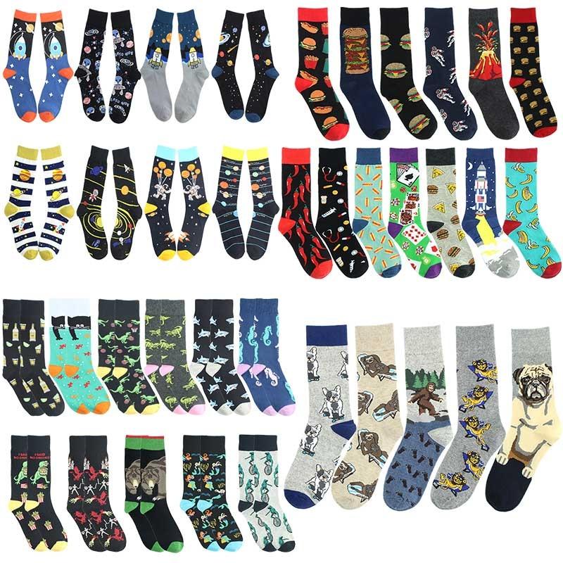 Happy Men Cotton Socks Animal Burger Volcano Ocean Pattern Men's Socks Creative Hip Hop Socks Colorful Funny Unisex Socks