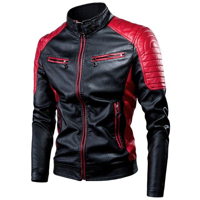 Ucrazy Men 2021 Winter Casual Motor Spliced Leather Jacket Coat Men Autumn Fashion Biker Vintage Warm Leather Jacket Coat Men 1