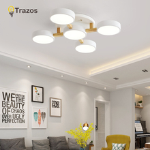 2019 TRAZOS Nordic Wood Decor Led Ceiling Lights For Living Room 220V Round Metal Lamp Surface Mounted Lighting Fixture