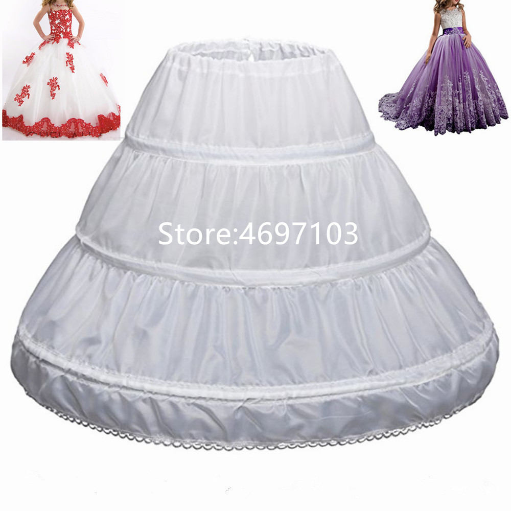 Fit 6~14Y  Girl Children Petticoat A-Line 3 Hoops One Layer Kids Crinoline Lace Trim Flower Girl Dress Underskirt Elastic Waist