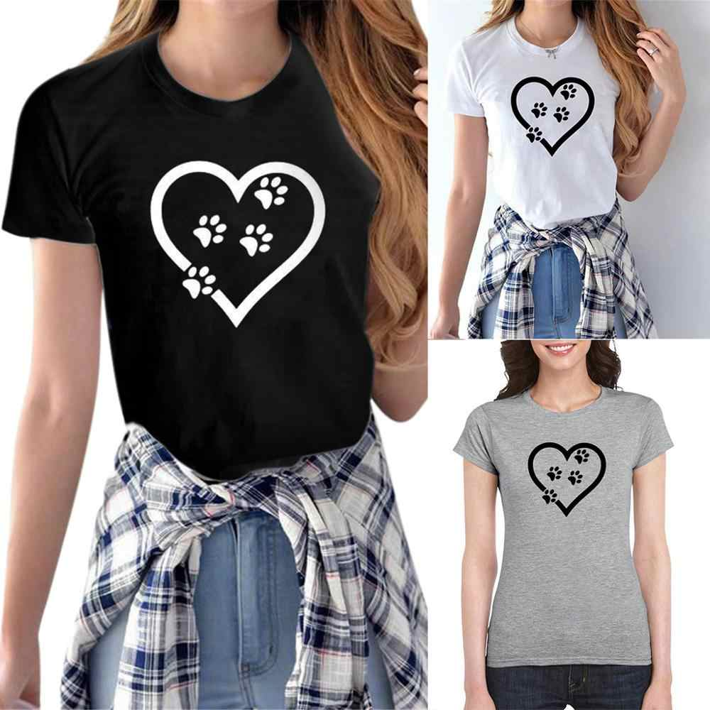 T shirt women Couple tshirt Casual White black Tops Tshirt Women Heart-shaped Footprint Print T-Shirt Female футболка женская