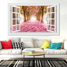 Pink Violet Flowers Boulevard Pretend Window 3D Wall Design Art Canvas Painting Posters Pictures Prints Home Living Room Decor