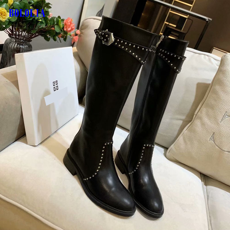 Botas de cuero genuino de alta calidad para mujer, botas de otoño e invierno, botas altas hasta la rodilla, zapatos Martin para mujer - 2