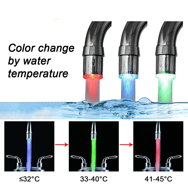 Inghoo Colorful LED Water Faucet Light 3 Changes Color Depending on water temperature for Kitchen Bathroom Washing Shower 4