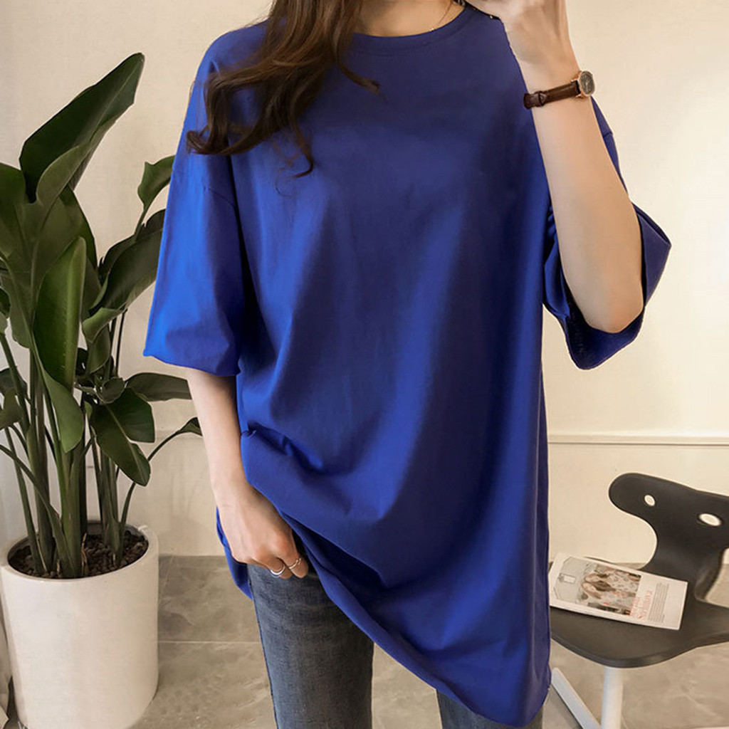 p-g <font><b>2019</b></font> Korean Solid Loose <font><b>T</b></font>-<font><b>shirt</b></font> Oversize <font><b>Women</b></font> Casual <font><b>Long</b></font> Sleeve <font><b>T</b></font> <font><b>Shirt</b></font> Female O-Neck Pullovers Tshirt Vogue Tops Tee image