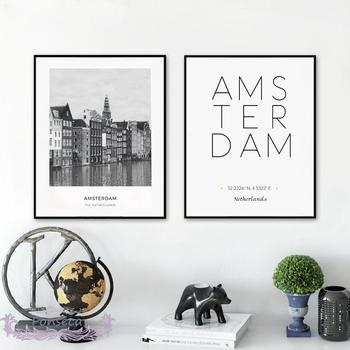 City Poster Netherland Amsterdam Landscape Posters and Prints Wall Art Latitude and Longitude Canvas Painting Modular Pictures image