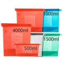 Sacos de silicone para guardar alimentos, extra grandes 4000ml, silicone reutilizável, saco de armazenamento de comida, sanduíche, líquido, lanche, carne, vegetais