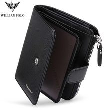 2019 New Men Fashion Genuine Leather Wallet Business Credit Card Holder Wallet Multifunction Zip WilliamPOLO Purse Photo Case(China)
