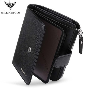 New Men Fashion Genuine Leather Wallet Business Credit Card Holder Wallet Multifunction Zip  WilliamPOLO Purse Photo Case men wallet leather credit card photo holder billfold purse business clutch dec07